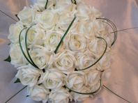 WEDDING FLOWERS ARTIFICIAL IVORY FOAM ROSE BRIDE WEDDING BOUQUET CRYSTAL FOLIAGE
